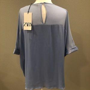 Zara Tops - Zara Blue Sheer and Satin Flared Blouse LG